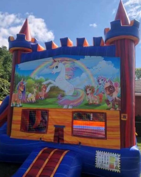 Unicorn Bounce House / Slide Combo
